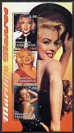 Tadjikistan 2001 Marilyn Monroe perf sheetlet containing 3 values unmounted mint, stamps on , stamps on  stamps on films, stamps on  stamps on cinema, stamps on  stamps on personalities, stamps on  stamps on entertainments, stamps on  stamps on marilyn, stamps on  stamps on marilyn monroe