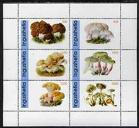 Ingushetia Republic 1998 Fungi #2 perf sheetlet containing complete set of 6 values unmounted mint, stamps on fungi