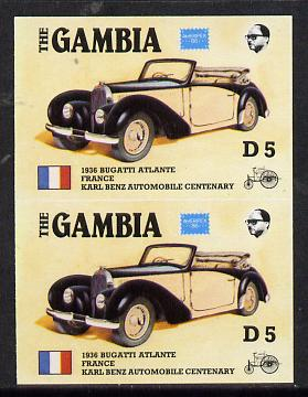 Gambia 1987 Ameripex 5d (1936 Bugatti) imperf pair from the Format archive proof sheet, as SG 656*