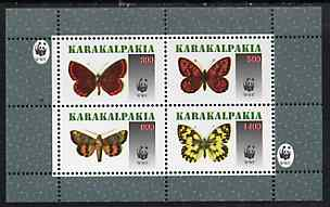 Karakalpakia Republic 1996 WWF - Butterflies perf sheetlet containing set of 4 values unmounted mint