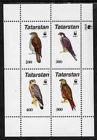 Tatarstan Republic 1996 WWF - Birds of Prey #3 perf sheetlet containing set of 4 values unmounted mint