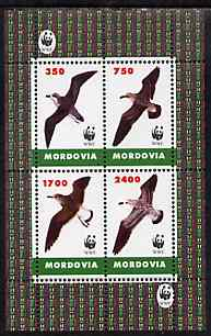 Mordovia Republic 1996 WWF - Birds perf sheetlet containing set of 4 values unmounted mint