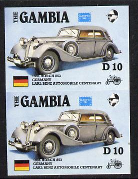 Gambia 1987 Ameripex 10d (1936 Horch 853) imperf pair from the Format archive proof sheet, as SG 657*