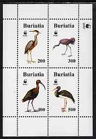 Buriatia Republic 1996 WWF - Birds perf sheetlet containing set of 4 values unmounted mint