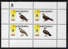 Karakalpakia Republic 1996 WWF - Birds of Prey perf sheetlet containing set of 4 values unmounted mint