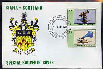 Staffa 1982 Inventions (Phonograph & Telescope) perf  set of 2 values on cover with first day cancel