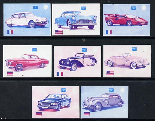 Gambia 1987 Ameripex (Cars) the set of 8 each imperf and printed in magenta & blue colours only, ex Format archive proof sheet, as SG 650-57. NOTE - this item has been se...