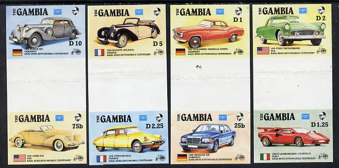 Gambia 1987 Ameripex (Cars) the set of 8 in imperf se-tenant gutter pairs (4 pairs folded through gutters) ex Format archive proof sheet, as SG 650-57