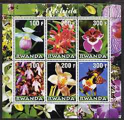 Rwanda 2000 Orchids perf sheetlet containing complete set of 6 values unmounted mint