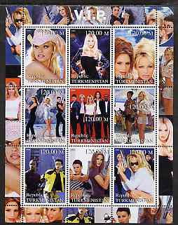Turkmenistan 2000 VIP (TV Series) perf sheetlet containing 9 values unmounted mint (Pamela Anderson etc)