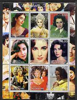 Tadjikistan 2000 Elizabeth Taylor perf sheetlet containing 9 values unmounted mint