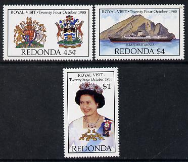 Antigua - Redonda 1985 Royal Visit set of 3 (The Queen, Royal Arms & HMY Britannia) unmounted mint