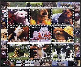 Kyrgyzstan 2000 Dogs perf sheetlet containing 9 values unmounted mint