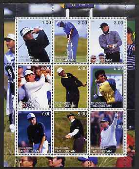 Tadjikistan 2000 Golf Stars perf sheetlet containing 9 values unmounted mint (Seve, Player, Nicklaus, etc)