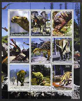 Mali 1998 Dinosaurs perf sheetlet containing 9 values unmounted mint
