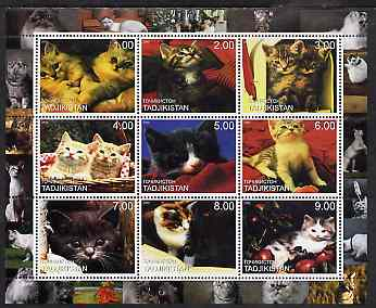 Tadjikistan 2000 Domestic Cats perf sheetlet containing 9 values unmounted mint