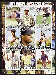 Chechenia 2000 Tiger Woods perf sheetlet containing 9 values unmounted mint