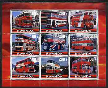 Rwanda 2000 Buses perf sheetlet containing 9 values unmounted mint