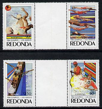 Antigua - Redonda 1984 Olympic Games (Canoeing, Rowing, Water Polo & Swimming) set of 4 in 2 se-tenant gutter pairs (folded through gutters but rare being from the Format...