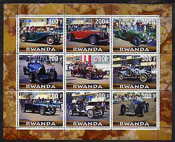 Rwanda 2000 Vintage Cars perf sheetlet containing 9 values unmounted mint