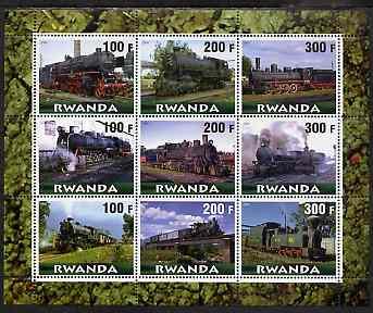 Rwanda 2000 Steam Locos #1 (horiz format) perf sheetlet containing 9 values unmounted mint