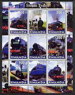 Rwanda 2000 Steam Locos #2 (Vert format) perf sheetlet containing 9 values unmounted mint