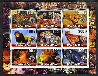 Rwanda 2001 Big Cats perf sheetlet containing 9 values each with Lions International Logo, unmounted mint