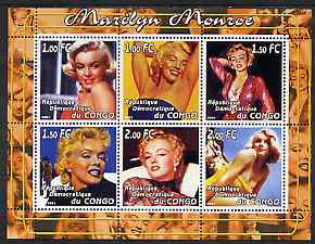 Congo 2001 Marilyn Monroe #1 perf sheetlet containing 6 values unmounted mint