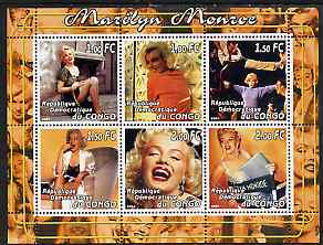 Congo 2001 Marilyn Monroe #2 perf sheetlet containing 6 values unmounted mint