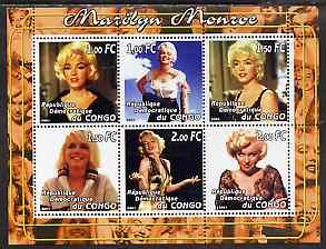 Congo 2001 Marilyn Monroe #3 perf sheetlet containing 6 values unmounted mint