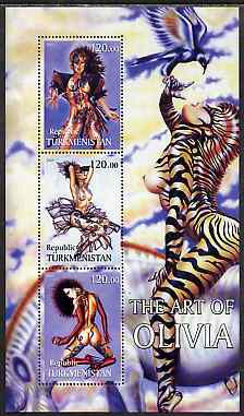 Turkmenistan 2001 Fantasy Art of Olivia perf sheetlet containing 3 values unmounted mint