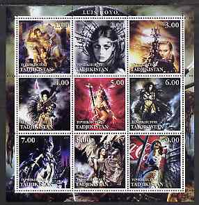 Tadjikistan 2001 Fantasy Art of Luis Royo perf sheetlet containing 9 values unmounted mint