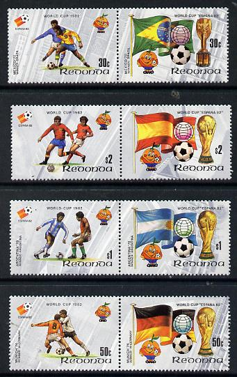 Antigua - Redonda 1982 Football World Cup set of 8 in 4 se-tenant pairs unmounted mint