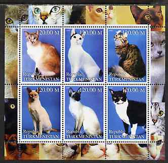 Turkmenistan 2000 Domestic Cats #2 perf sheetlet containing 6 values unmounted mint