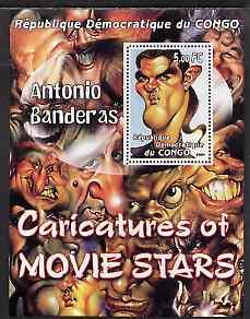 Congo 2001 Caricatures of Movie Stars - Antonio Banderas perf souvenir sheet unmounted mint
