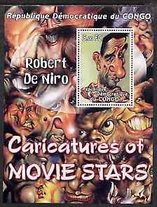 Congo 2001 Caricatures of Movie Stars - Robert De Niro perf souvenir sheet unmounted mint