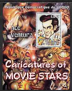 Congo 2001 Caricatures of Movie Stars - Ace Ventura perf souvenir sheet unmounted mint
