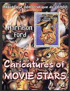 Congo 2001 Caricatures of Movie Stars - Harrison Ford perf souvenir sheet unmounted mint