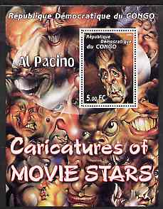 Congo 2001 Caricatures of Movie Stars - Al Pacino perf souvenir sheet unmounted mint