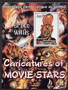 Congo 2001 Caricatures of Movie Stars - Bruce Willis perf souvenir sheet unmounted mint