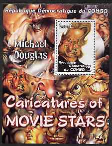 Congo 2001 Caricatures of Movie Stars - Michael Douglas perf souvenir sheet unmounted mint