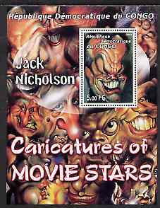 Congo 2001 Caricatures of Movie Stars - Jack Nicholson perf souvenir sheet unmounted mint