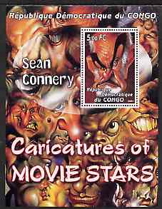 Congo 2001 Caricatures of Movie Stars - Sean Connery perf souvenir sheet unmounted mint