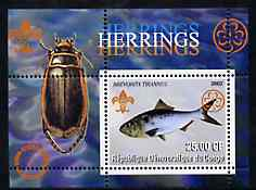 Congo 2002 Fish (Herrings) perf s/sheet containing single value with Scouts & Guides Logos plus Rotary Logo & Insect in outer margin, unmounted mint