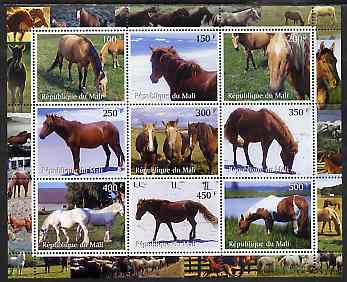 Mali 2000 Horses perf sheetlet containing 9 values unmounted mint