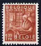 Belgium 1948-49 Woman Making Lace 1f35 red-brown (from Industry set) unmounted mint SG1219*