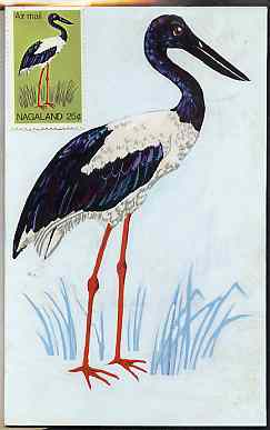 Nagaland 1969 Black-necked Stork - original hand-painted artwork as used for 25c on board 110 mm x 180 mm complete with issued stamp
