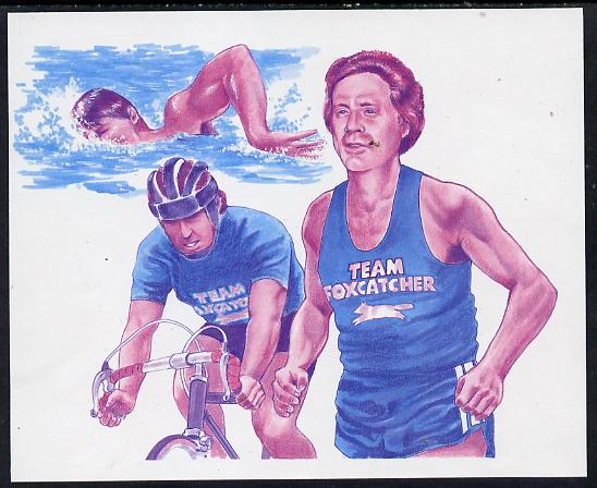 Antigua - Redonda 1987 Capex $5 m/sheet (unissued) showing Triathlete John duPont Running, Swimming & Cycling imperf proof printed in magenta & blue only (ex Format archive sheet) unmounted mint