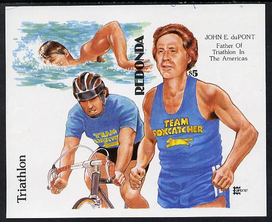 Antigua - Redonda 1987 Capex $5 m/sheet (unissued) showing Triathlete John duPont Running, Swimming & Cycling imperf from Format archive proof sheet unmounted mint