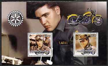 Congo 2004 Elvis Presley perf sheetlet containing 2 values with Rotary Logo & Motorbike in background, unmounted mint